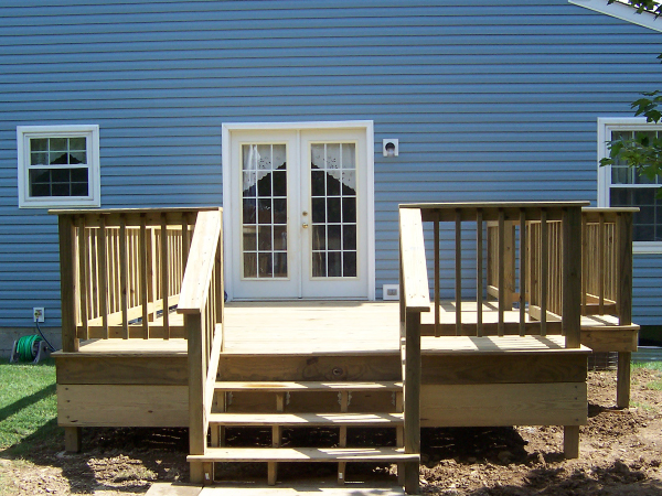 Simple Outside Deck Area with Stairs