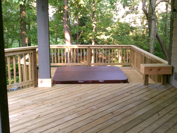 Deck with lower level Hot Tub build in